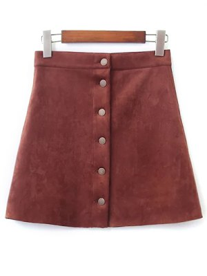 Faux Suede A-Line Skirt - Brown