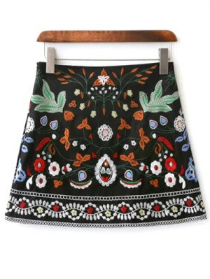Mini Floral Embroidered Flare Skirt - Black