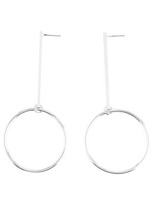 Circle Bar Earrings - Silver