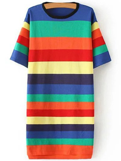 Round Neck Striped Color Block Sweater Dress