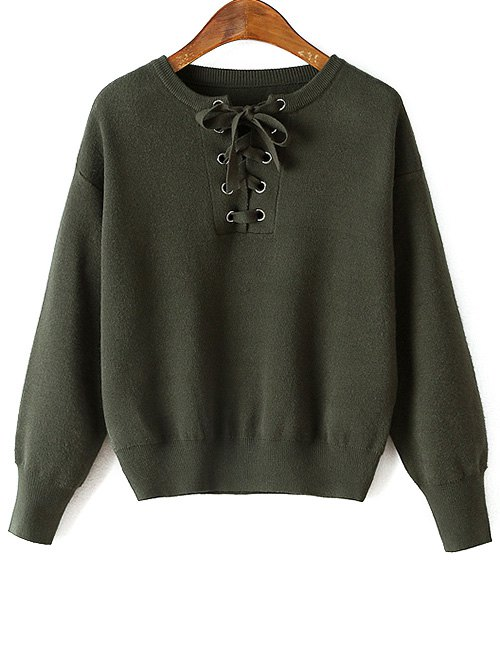 Round Neck Long Sleeve Loose Lace-Up Sweater