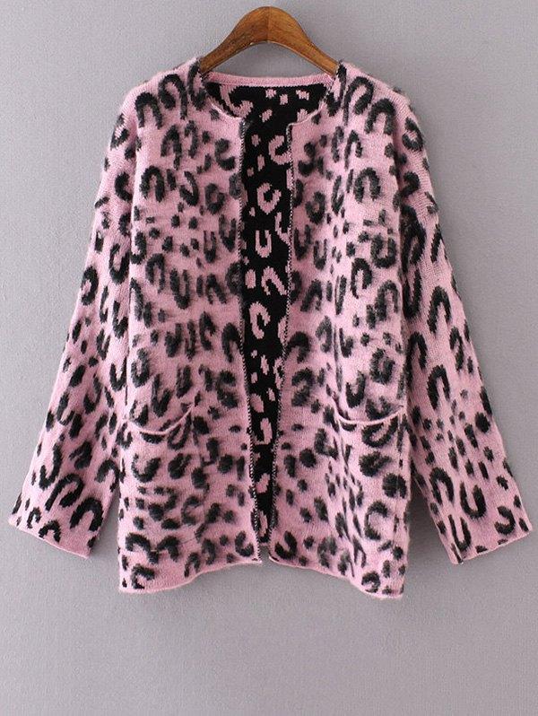Long Sleeve Pockets Leopard Pattern Cardigan