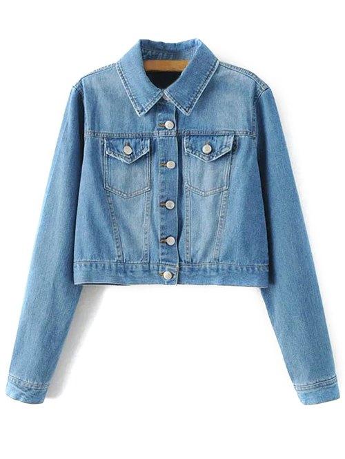 Embroidered Back Denim JacketClothes<br><br><br>Size: M<br>Color: BLUE