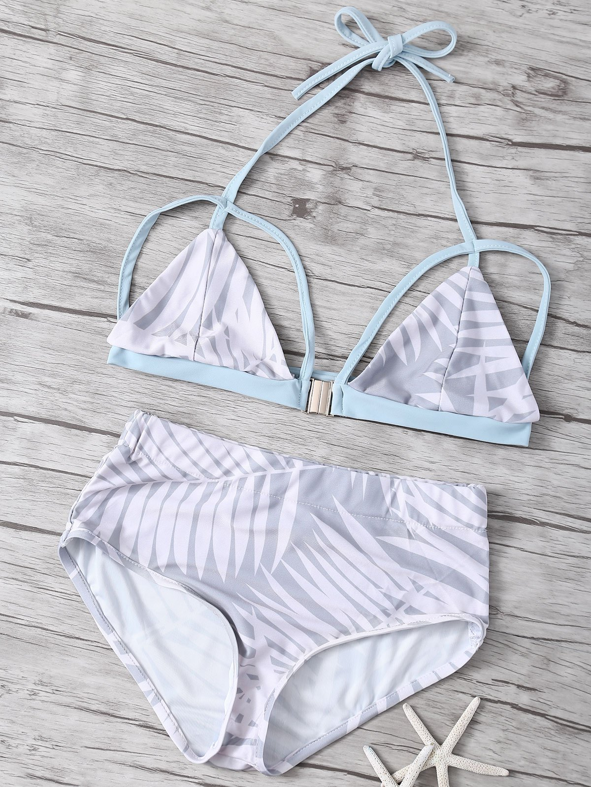 High Waisted Print Strappy Bikini Set