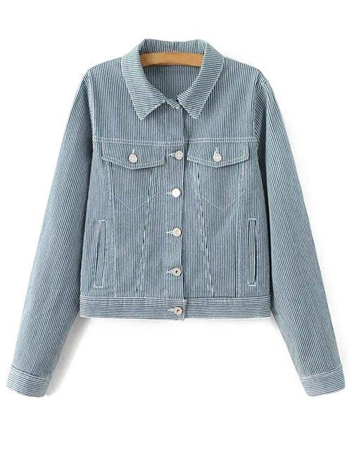 Turn-Down Collar Striped Denim Jacket