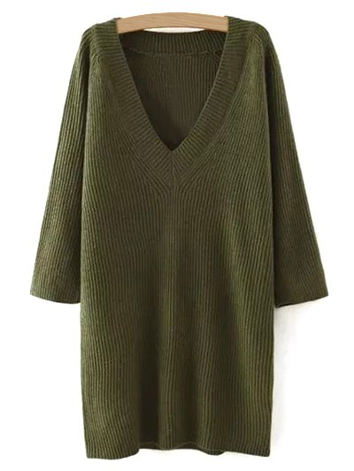 Plunging Neck Solid Color Sweater Dress