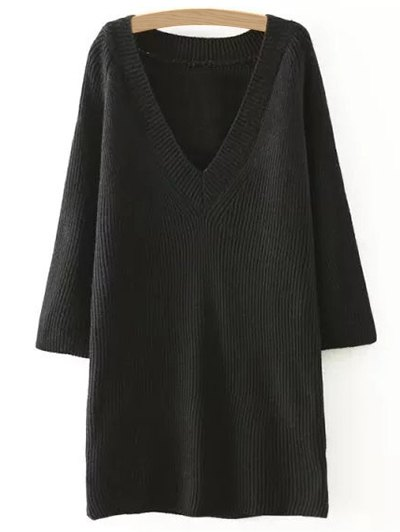 Solid Color Plunging Neck Sweater Dress - BLACK ONE SIZE