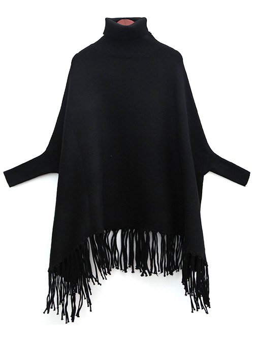 Turtle Neck Bat-Wing Sleeve Tassels Jumper