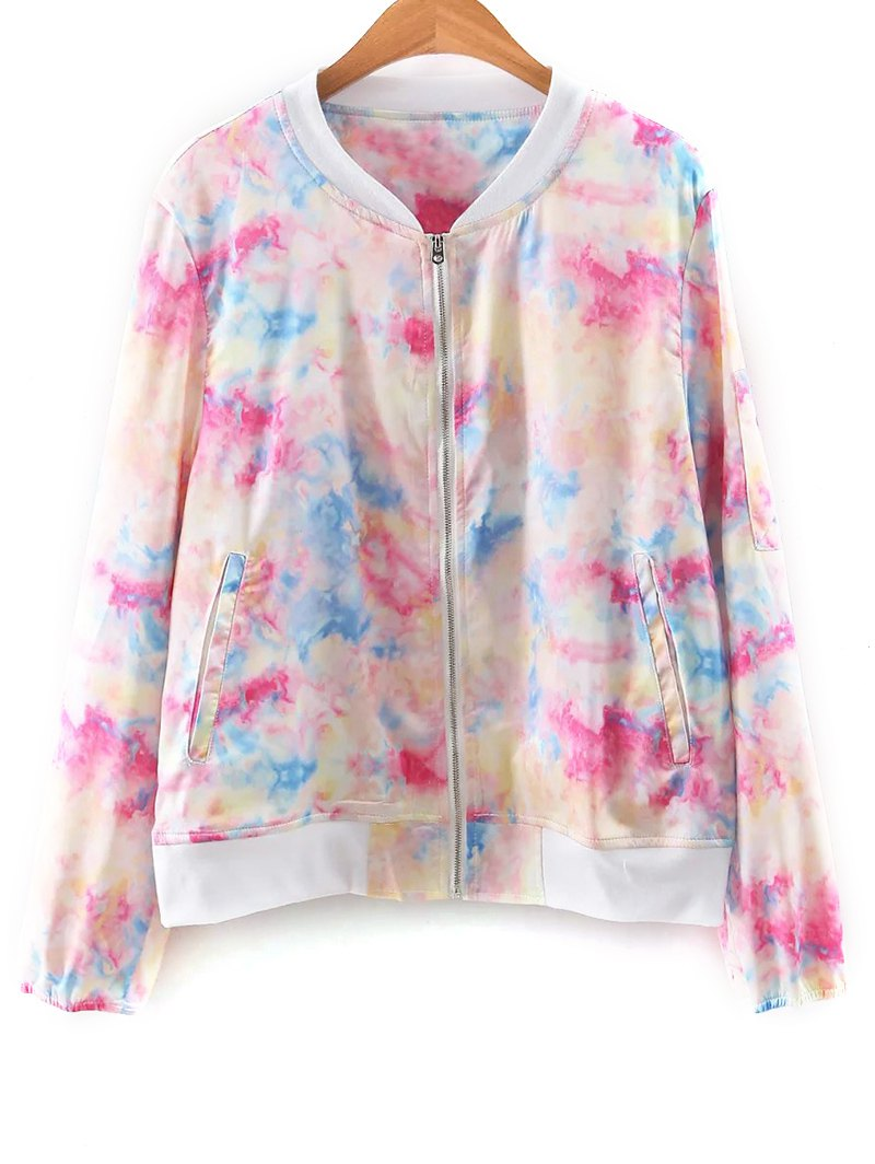 Stand Neck Long Sleeve Tie Dye Print Jacket