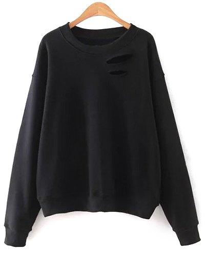 Round Neck Solid Color Cutout Sweatshirt