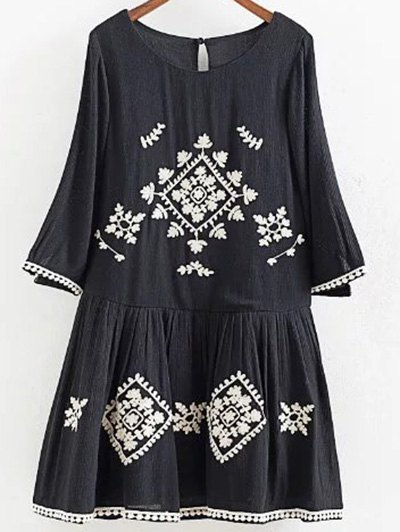A Line 3/4 Sleeves Embroidered Dress