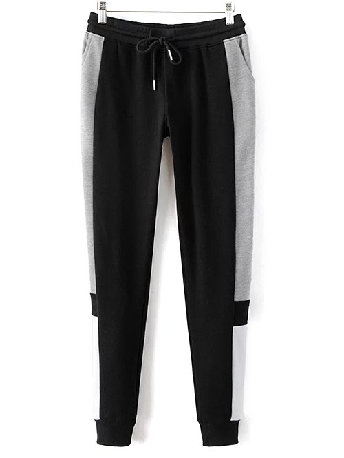 Color Block Drawstring Design Jogging Pants