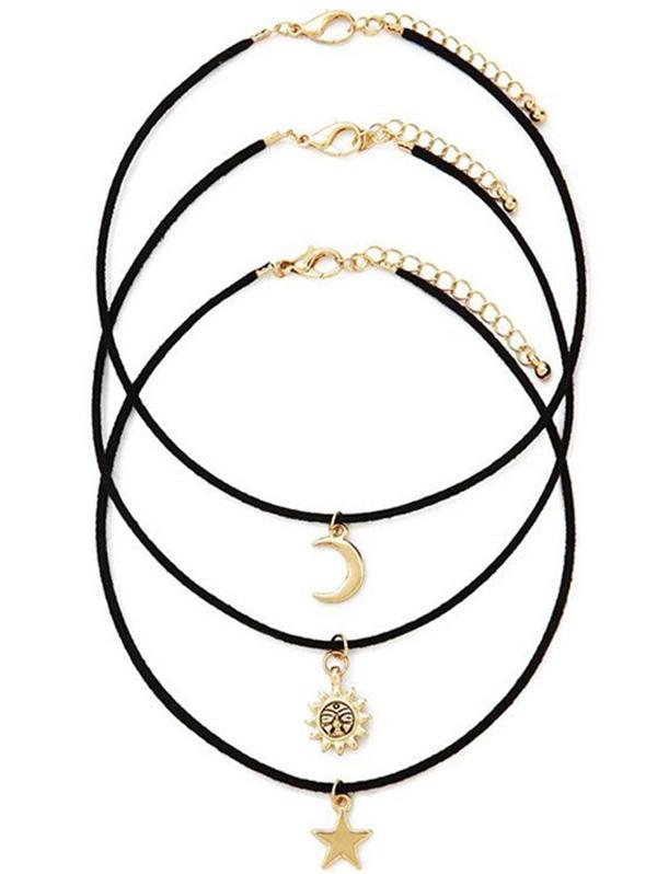 Moon Star Sun Layered Black Band Necklace Set