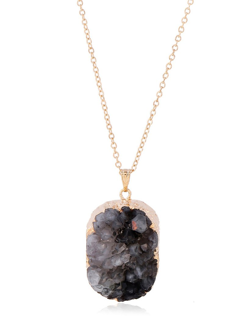 Small Raw Shape Geode Druzy Necklace