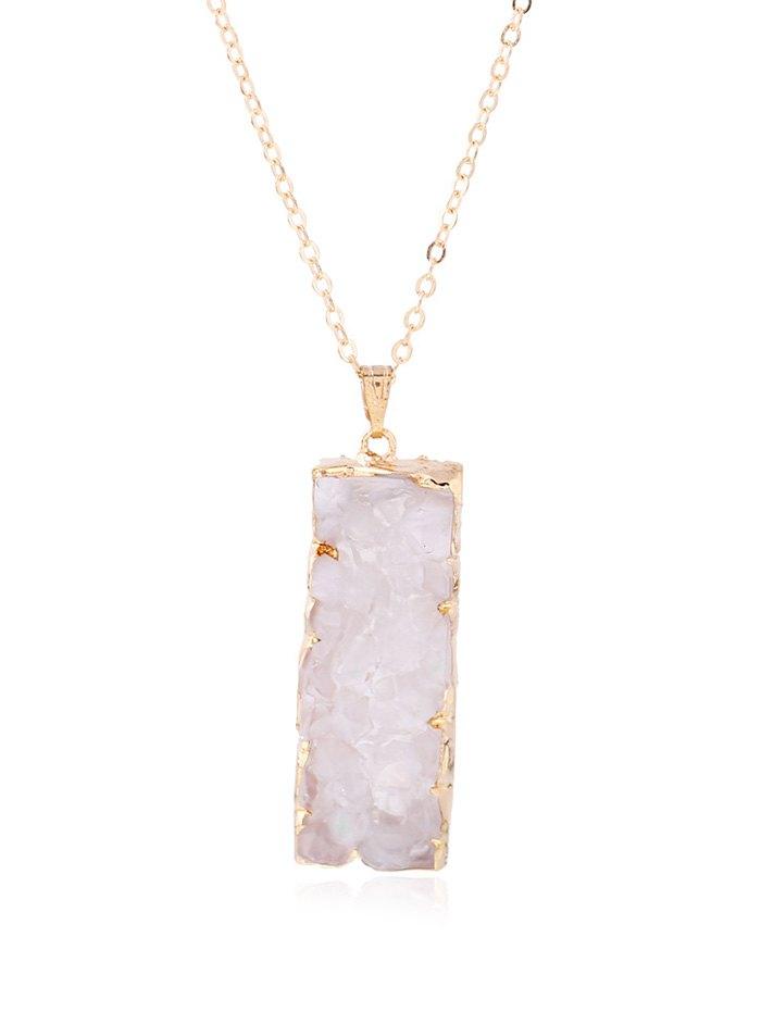 Rectangle Faux Stone Pendant Necklace