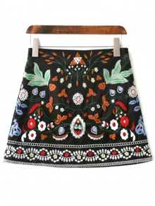 Mini Floral Embroidered Flare Skirt - BLACK M