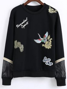 Embroidered Round Neck Long Sleeve Sweatshirt - Black S