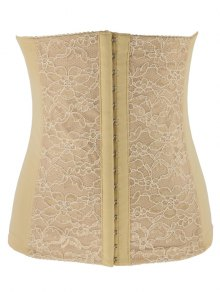 Lacework Spliced Waist Training Corset - Apricot