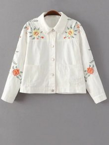 Floral Embroidered Turn-Down Collar Jacket