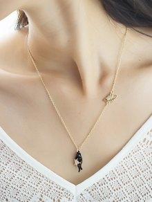 Star Cat Planet Pendant Necklace - Black