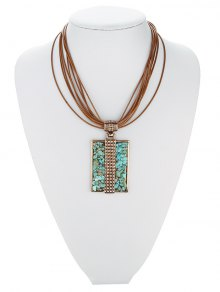 Tiered Rectangle Turquoise Multilayered Necklace