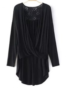 Buy Lace Trim Long Sleeve High Low T-Shirt - BLACK M