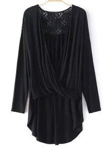 Buy Lace Trim Long Sleeve High Low T-Shirt - BLACK L