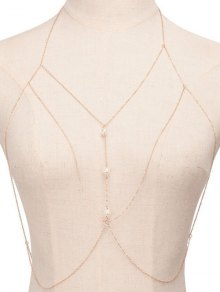 Fake Pearl Sandbeach Body Chain - Golden