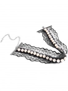 Faux Pearl Bat Choker - Black