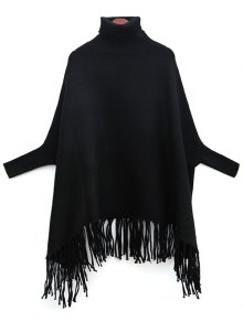 Tassels Turtle Neck Batwing Jumper