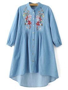 Floral Embroidered High Low Chambray Tunic Dress - Blue
