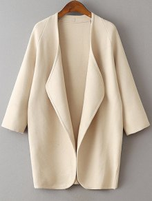 Solid Color Collarless 3/4 Sleeve Cardigan
