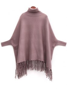 Tassels Turtle Neck Batwing Jumper - Light Coffee