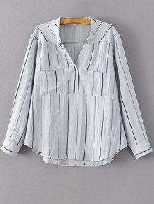 V Neck Full Sleeve Blouse - Light Blue M