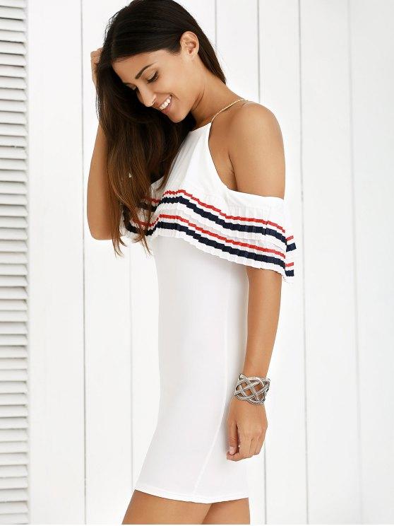 Cami Striped Flounce Ruffles Cold Shoulder Dress - WHITE XL Mobile
