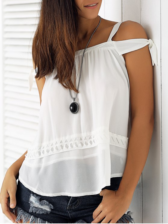 womens White Hollow Cami Off The Shoulder Blouse - WHITE M