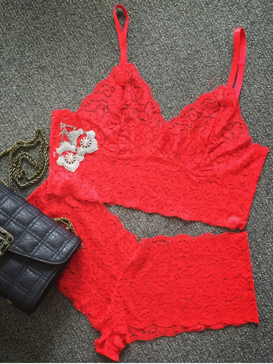 new Solid Color Spaghetti Straps Lace Bra Set - RED M