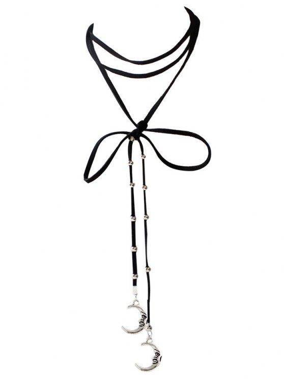 women's Moon Necklace - BLACK