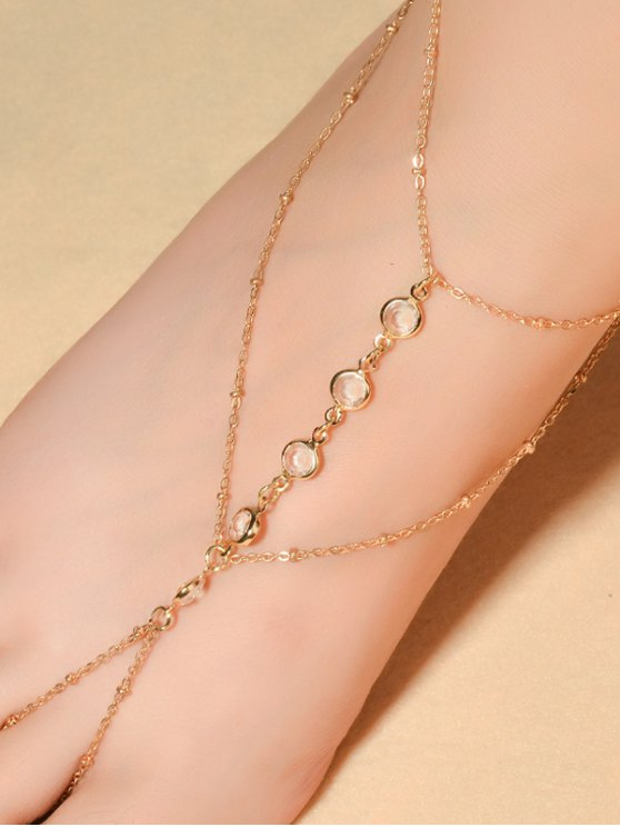 Faux Crystal Beaded Toe Ring Anklet - GOLDEN  Mobile