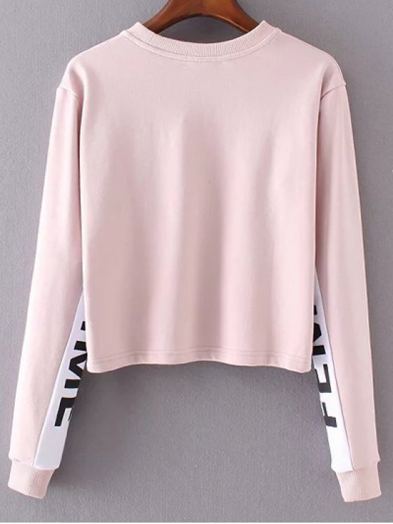 Letter Print Jewel Neck Long Sleeve Sweatshirt - PINK M Mobile