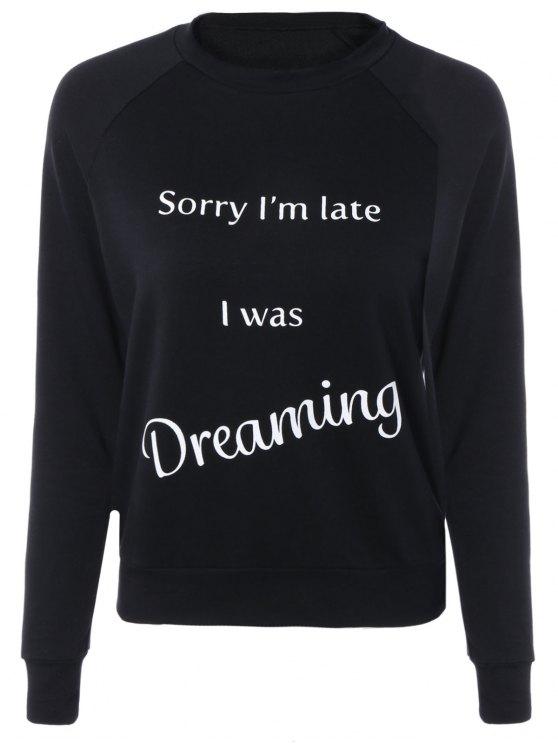 Lettre Imprimé Raglan Sleeve Sweatshirt - Noir S