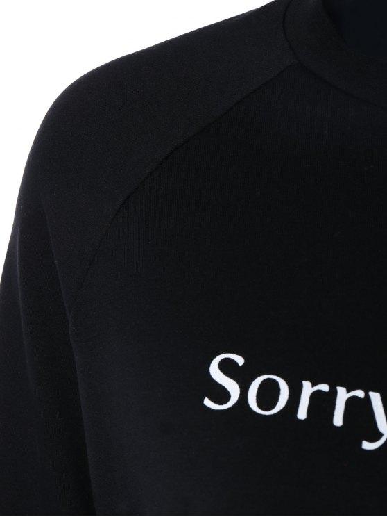 Letter Printed Raglan Sleeve Sweatshirt - BLACK S Mobile