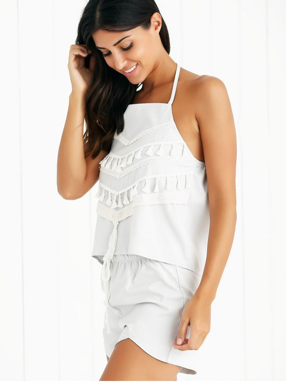 Tassels Spliced Halter Top and Drawstring Shorts Twinset - LIGHT GRAY S Mobile