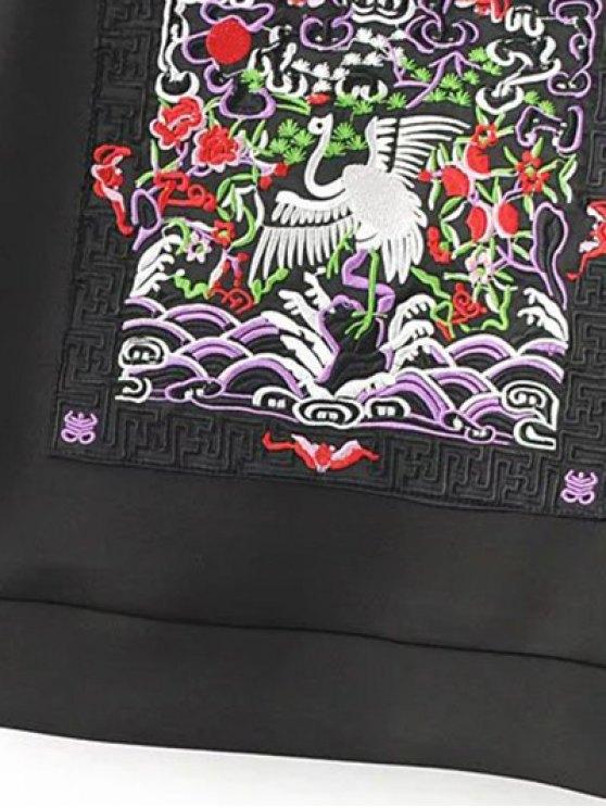 Embroidered Round Neck Cutout Sweatshirt - BLACK M Mobile