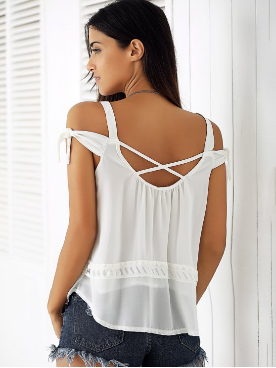 White Hollow Cami Off The Shoulder Blouse - WHITE M Mobile