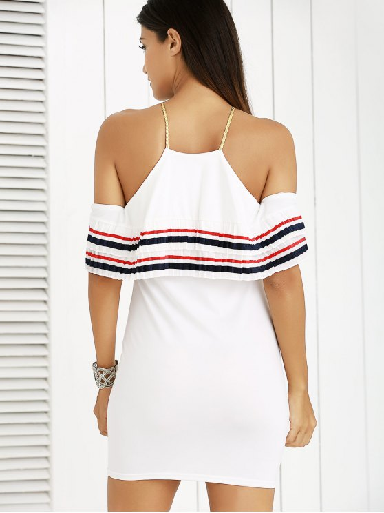 Cami Striped Flounce Ruffles Cold Shoulder Dress - WHITE S Mobile