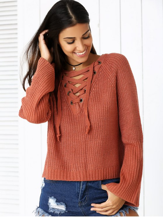 Lace Up V Neck Long Sleeve Sweater - BRICK-RED ONE SIZE Mobile