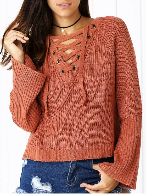 affordable Lace Up V Neck Long Sleeve Sweater - BRICK-RED ONE SIZE