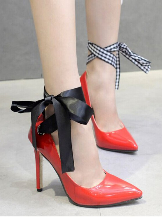 Asymmetric Ribbons Stiletto Heel Pumps - RED 38 Mobile