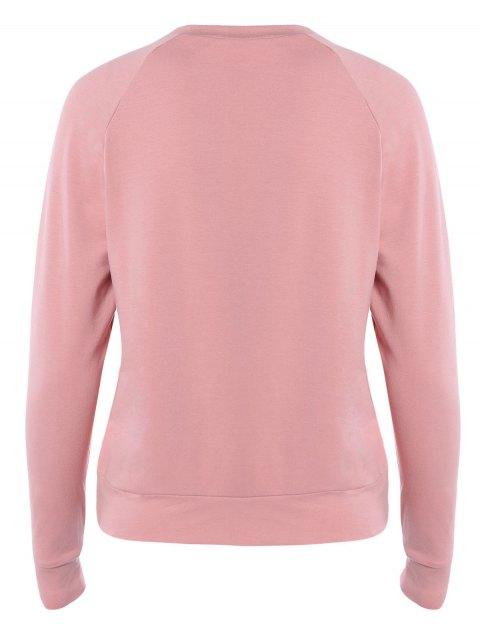 trendy Letter Printed Raglan Sleeve Sweatshirt - PINK M Mobile